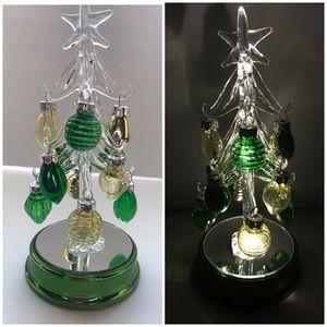 🆕🌲New Glass Light Up Mini Tree (Green & Gold)